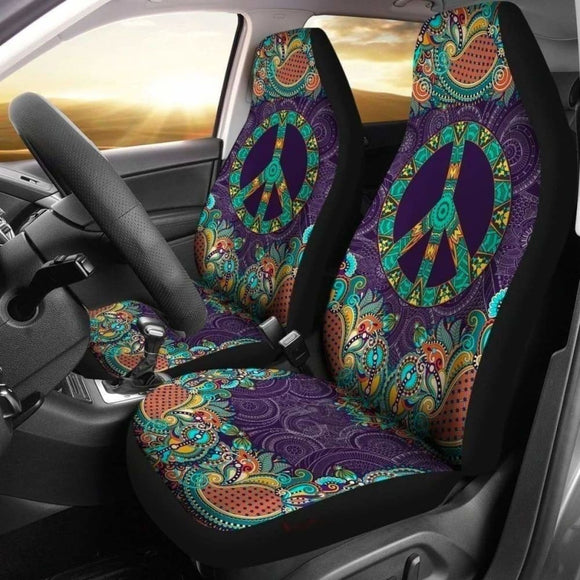 Purple Peace Symbol Mandala Hippie Car Seat Covers 143731 - YourCarButBetter