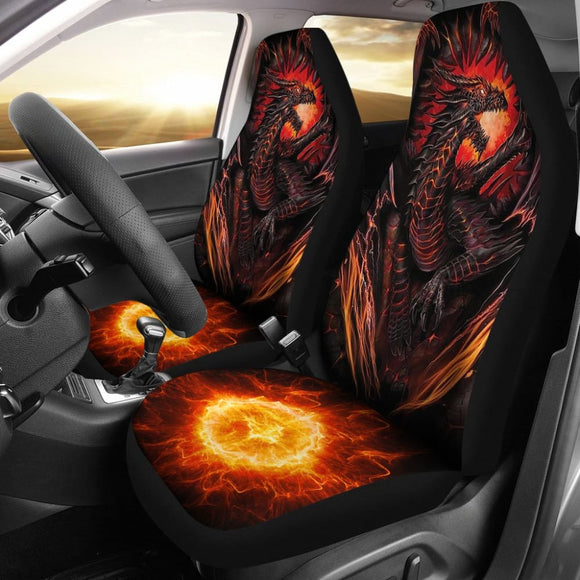Red Fire Dragon Battle Car Seat Covers 211502 - YourCarButBetter