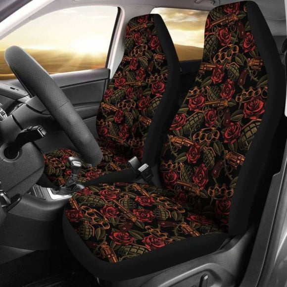 Roses With Grenades Guns And Brass Knuckles Car Seat Covers Weapons Pattern Seat Protectors 174914 - YourCarButBetter