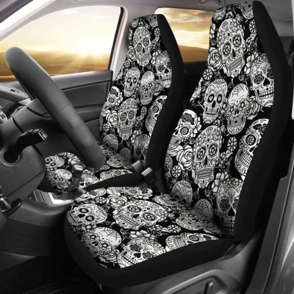 Set 2 Pcs Floral Sugar Skull Day Of The Dead Skull Car Seat Covers 101207 - YourCarButBetter