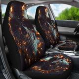 Set 2 Pcs Gothic Flaming Skull Car Seat Covers 172727 - YourCarButBetter