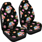 Set 2 Seat Cover Flower Skull Gothic Car Seat Covers 172727 - YourCarButBetter
