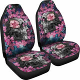 Set Of 2 Beautiful Floral Sugar Skull Car Seat Covers 101207 - YourCarButBetter
