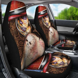 Set Of 2 Beautiful Sugar Skull Seat Covers - Day Of The Dead 101207 - YourCarButBetter