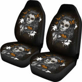 Set Of 2 - Beauty Girl Sugar Skull Seat Cover 101207 - YourCarButBetter