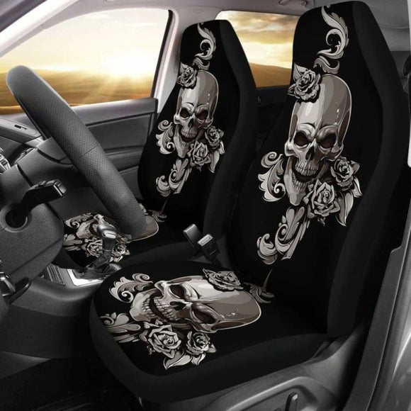 Set Of 2 Floral Sugar Skulls Car Seat Covers 101207 - YourCarButBetter