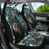 Set Of 2 Pcs - Grim Reaper Skull Gothic Car Seat Covers 172727 - YourCarButBetter