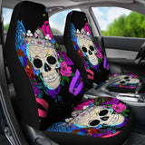 Set Of 2 Pcs Skull Car Seat Covers 101207 - YourCarButBetter