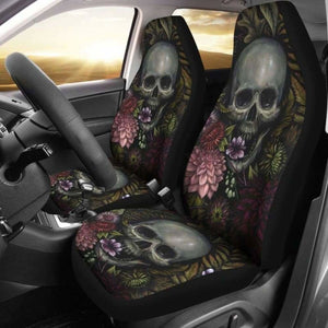 Set Of 2 Pcs - Skull Gothic Horror Flaming Fire Halloween Skull Car Seat Covers 101207 - YourCarButBetter