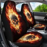 Set Of 2 Pcs - Skull Gothic Horror Flaming Fire Halloween Skull Car Seat Covers 172727 - YourCarButBetter