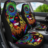 Set Of 2 Pcs Sugar Skull Car Seat Covers 101207 - YourCarButBetter