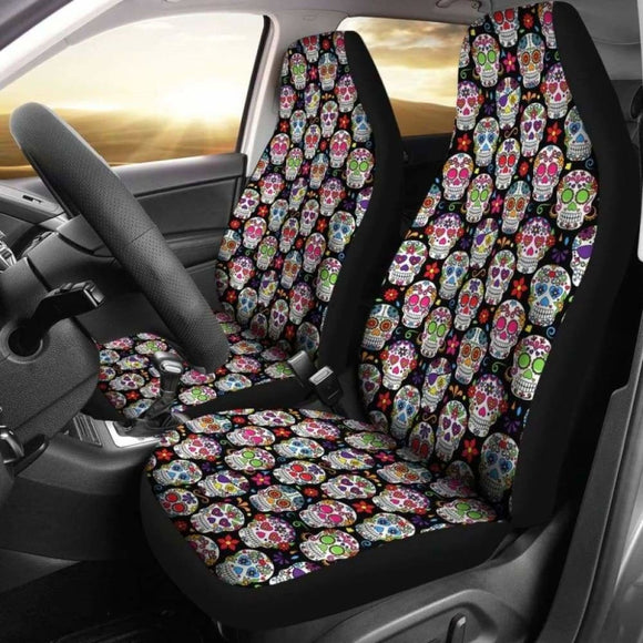 Set Of 2 Pcs - Sugar Skulls - Day Of The Dead Car Seat Covers 101207 - YourCarButBetter