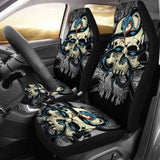 Set Of 2 Skull Gothic Car Seat Covers 172727 - YourCarButBetter