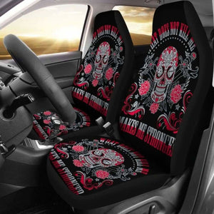 Set Of 2 Sugar Skull Car Seat Cover Day Of The Dead 101207 - YourCarButBetter