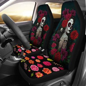 Set Of 2-Sugar Skull Girl - Day Of The Dead Car Seat Covers 101207 - YourCarButBetter
