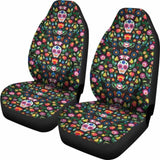 Set Of 2 Sugar Skull Mexican Skull Day Of The Dead Car Seat Covers 101207 - YourCarButBetter