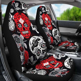 Skullistic Sugar Skulls Red Car Seat Covers 101207 - YourCarButBetter
