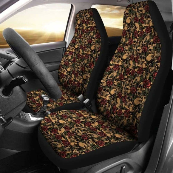 Skulls With Roses Car Seat Covers Tattoo Style 174914 - YourCarButBetter