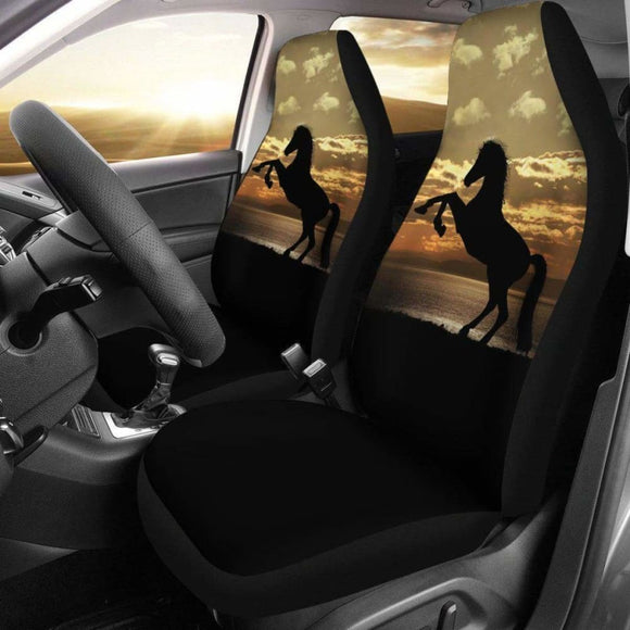 Stallion Horse Silhouette Ocean Sunset Seat Covers 170804 - YourCarButBetter