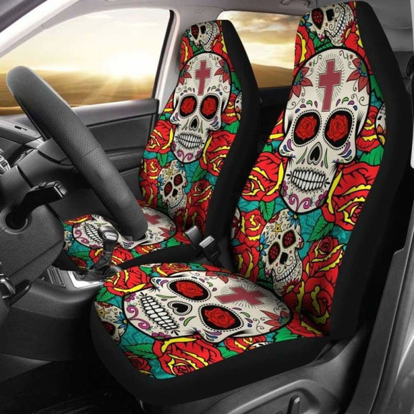 Sugar Skull Red Rose Seat Covers 101207 - YourCarButBetter