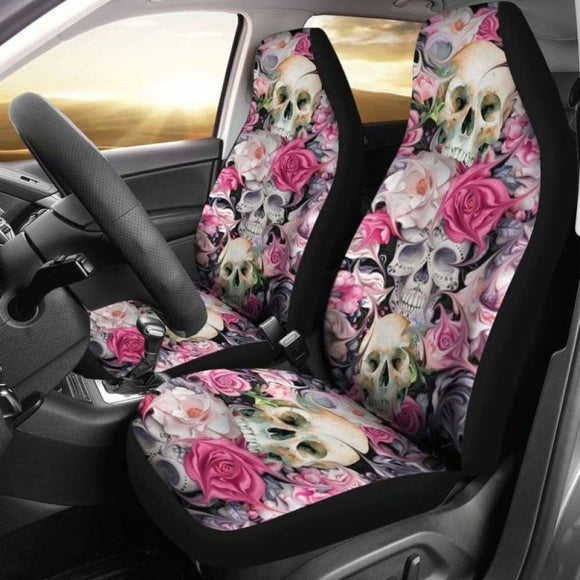 Sugar Skulls Roses Car Seat Covers 101207 - YourCarButBetter