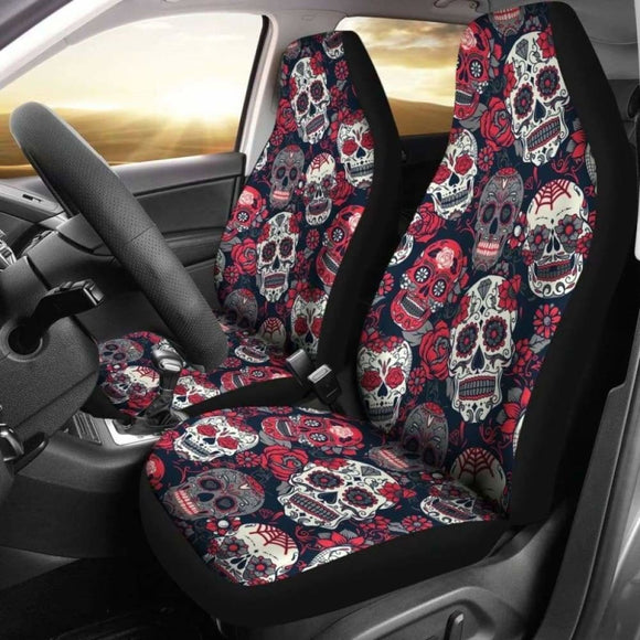 Sugar Skulls & Roses Car Seat Covers 101207 - YourCarButBetter