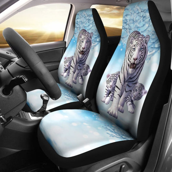 White Lovely Tiger Family Car Seat Covers 211302 - YourCarButBetter