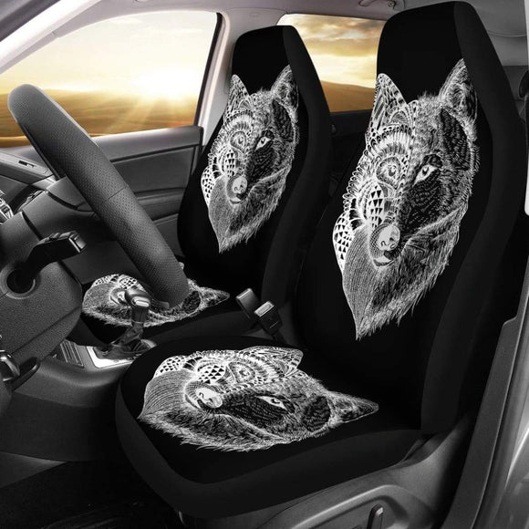 Wolf Mandala Car Seat Covers Pair 2 Front Seat Covers Car 212302 - YourCarButBetter