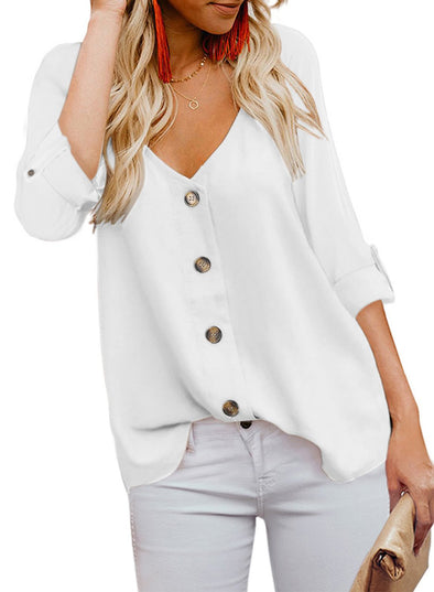 Button Detail Roll Up Sleeve Blouse