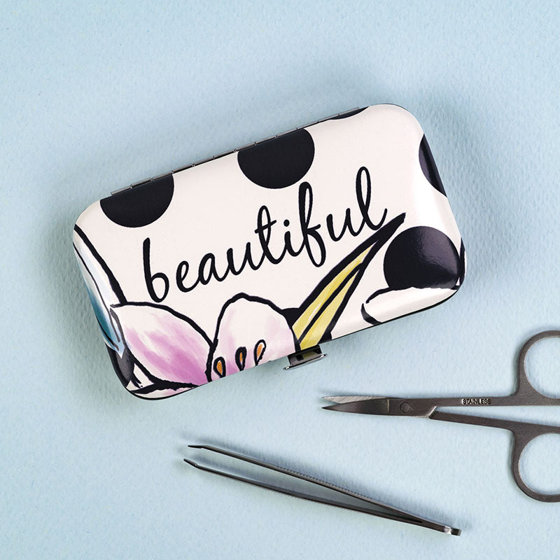 Beautiful Floral Manicure Set and Case