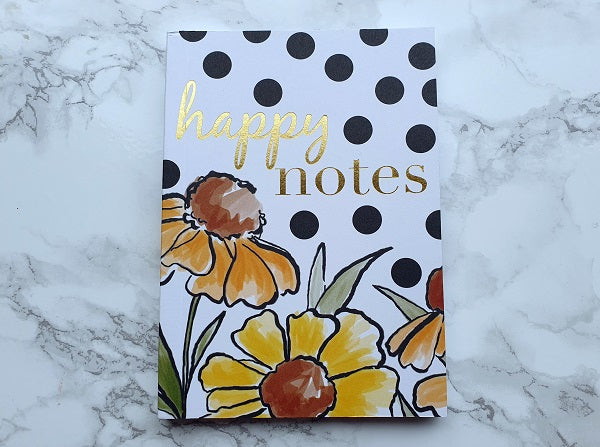 Happy Notes Sunflower Polka Dot Mini Notebook