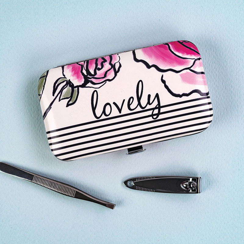 Lovely Floral Manicure Set and Case