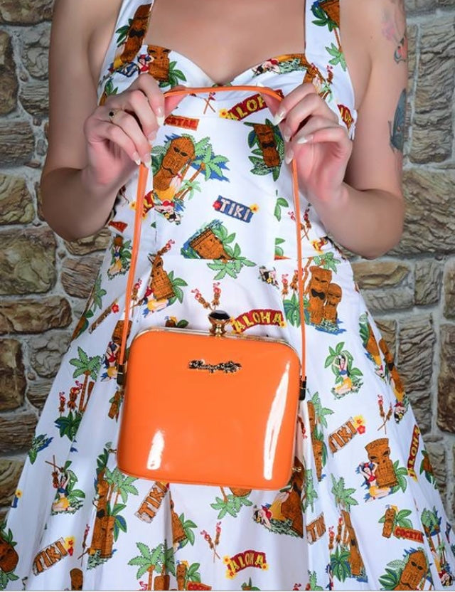 dark Blooms Handbag Bag Orange Patent 50s Retro Vintage Rockabilly Dancing Days