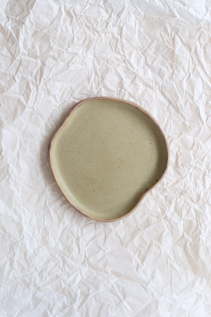 Free Form Puddle Plate by Clay Club, Medium, White Clay with Matte Grey & Mauve Glaze