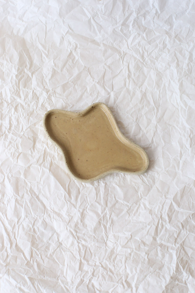 Free Form Puddle Plate by Clay Club, Small, White Speckled Clay with Matte Camel Glaze