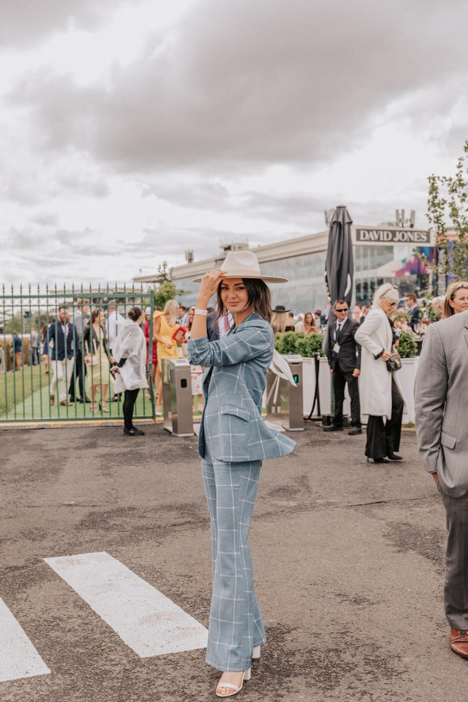 Vogue featuring Sarah Cate Macleod wearing the Oregon Blazer and the Nevada Pant in the best dressed list from Caulfield Cup.