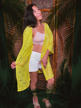 Load image into Gallery viewer, Kimono  Cover Up - Coral/Sunshine Yellow