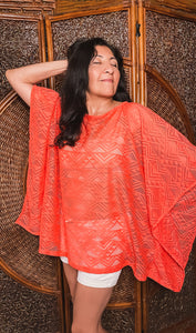 Pull Over Swim Cover Up - Coral/Sunny Yellow