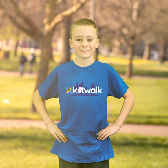 blue kids kiltwalk t-shirt