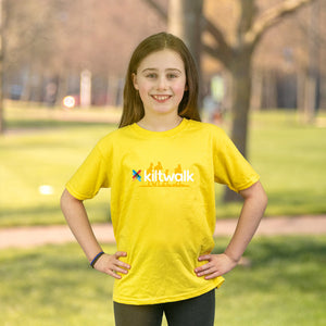 yellow kiltwalk kids t-shirt
