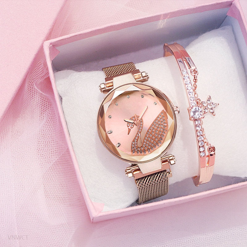 Fashion bracelet and watch women magnet quartz watch swan lazy watch female luxury diamond starry Milan with ladies quartz watch