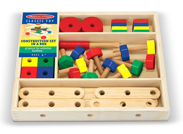 Construction Set in a Box - 48 Wooden Pieces!