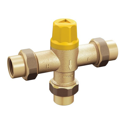 "#MOE104451 - Moen Commercial Low Flow Thermostatic Mixing Valve 1/2"" IPS with 3/8"" Compression Adapter"