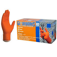 #GWON4-XXL - Heavy Duty Orange Nitrile Gloves XXL