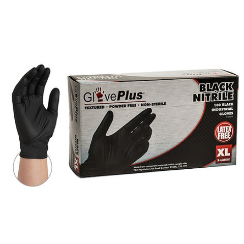 #GPNB46 Black Nitrile Gloves Large