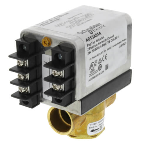 "#VT2317G13A01A - Erie 3/4"" Sweat 2-Way PopTop Zone Valve w/ Terminal Block w/ End Switch (24V)"