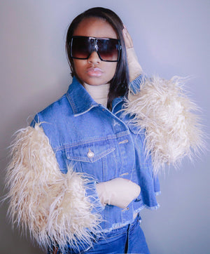 Bougie Babe Faux Fur Denim Jacket