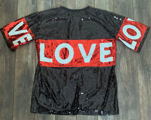 """Love Me""  Sequin Tunic Shirt"