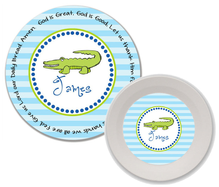 Alligator Personalized 2-Piece Melamine Prayer Plate and Bowl Set