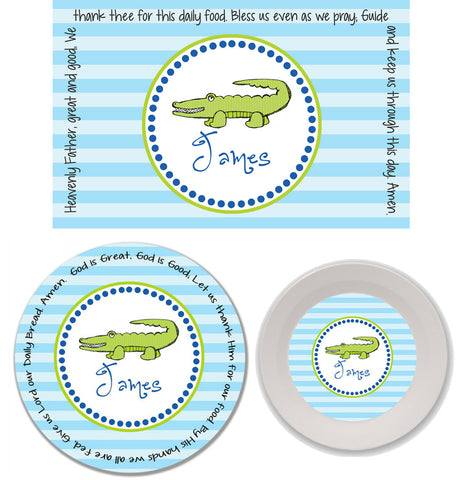 Alligator Boy Personalized Mealtime Set | 3-Piece